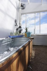 Energy-efficient greenhouse with self-watering planter