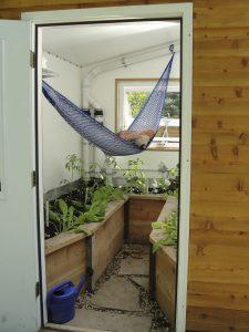 Custom greenhouse oasis with hammock