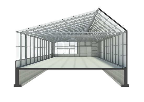 sectional rendering of greenhouse